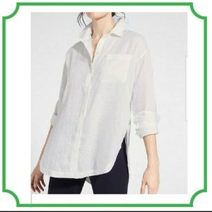Athleta long and lean linen shirt XS